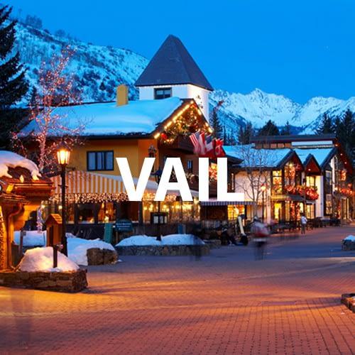 VAil town at dusk
